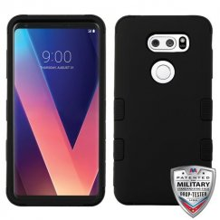 LG V30 Rubberized Black/Black Hybrid Case Military Grade