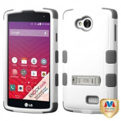 LG Tribute Natural Cream White/Iron Gray Hybrid Case with Stand
