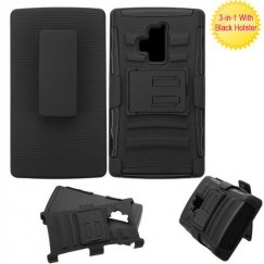 Coolpad Rogue Black/Black Advanced Armor Stand Case with Black Holster