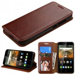 Alcatel One Touch Conquest Brown Wallet with Tray