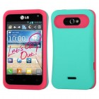 LG Motion 4G Rubberized Teal Green/Hot Pink Back Protector Cover