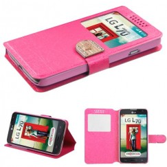 LG Optimus L70 Hot Pink Embossed Book-Style Wallet(with window)