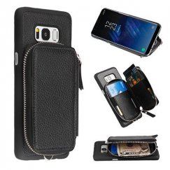 Samsung Galaxy S8 Plus Black Zipper Pouch Wallet Executive Case