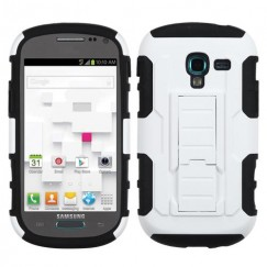 Samsung Galaxy Exhibit White/Black Car Armor Stand Case - Rubberized