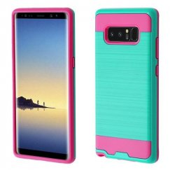 Samsung Galaxy Note 8 Teal Green/Hot Pink Brushed Hybrid Case
