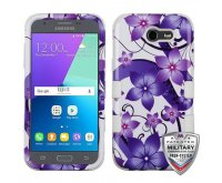 Purple Hibiscus Flower Romance /White Hybrid Phone Protector Cover [Military-Grade Certified]