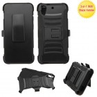 HTC Desire 626 Black/Black Advanced Armor Stand Protector Cover (With Black Holster)