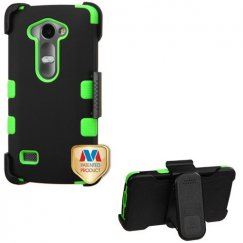 LG Leon H345 Rubberized Black/Electric Green Hybrid Case with Black Horizontal Holster