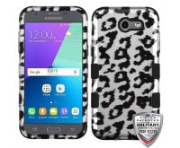 Black Leopard (2D Silver)/Black Hybrid Phone Protector Cover [Military-Grade Certified]