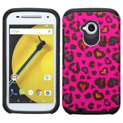 Motorola Moto E 2nd Gen Colorful Glittering Leopard Skin(Hot Pink)/Black Advanced Armor Case