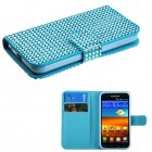 Samsung Galaxy S2 Light Blue Diamonds Book-Style Wallet with Card Slot