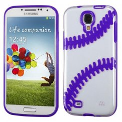 Samsung Galaxy S4 Transparent Clear/Solid Purple(Baseball) Gummy Cover