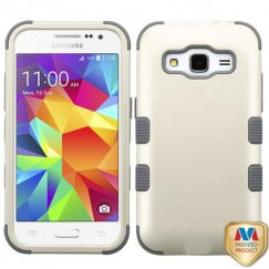 Samsung Galaxy Core Prime Rubberized Pearl White/Iron Gray Hybrid Case