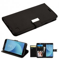 Samsung Galaxy J7 Black/Black PU Leather Wallet with extra card slots (GE031) -WP