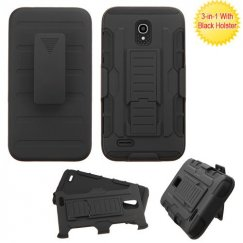 Alcatel One Touch Conquest Black/Black Advanced Armor Stand Case with Black Holster