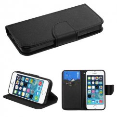 Apple iPhone 5/5s Black Pattern/Black Liner wallet with Card Slot