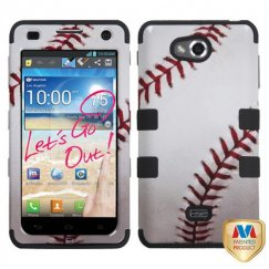 LG Spirit 4G Baseball-Sports Collection/Black Hybrid Case