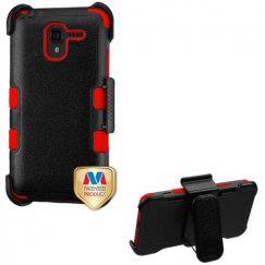 Kyocera Hydro Reach / Hydro View Natural Black/Red Hybrid Case with Black Horizontal Holster