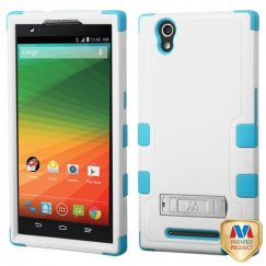 ZTE ZMax Natural Cream White/Tropical Teal Hybrid Case with Stand