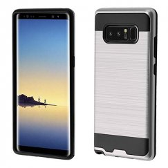 Samsung Galaxy Note 8 Silver/Black Brushed Hybrid Case