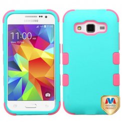 Samsung Galaxy Core Prime Rubberized Teal Green/Electric Pink Hybrid Case