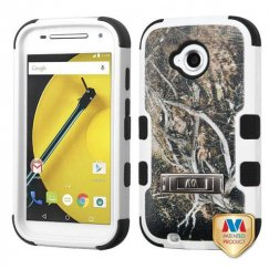 Motorola Moto E 2nd Gen Yellow/Black Vine/Black Hybrid Case with Stand