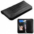 Universal Black Crocodile-Embossed Genuine Leather Wallet Pouch