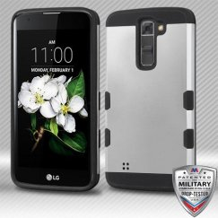 LG K7 Rubberized Space Silver/Black Hybrid Case
