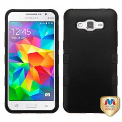 Samsung Galaxy Grand Prime Rubberized Black/Black Hybrid Case