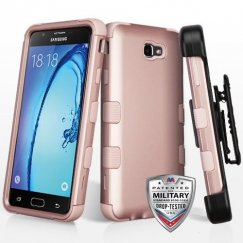 Samsung Galaxy On7 Rose Gold/Rose Gold Hybrid Case Military Grade with Black Horizontal Holster