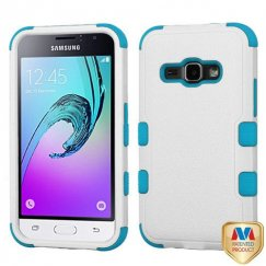 Samsung Galaxy J1 Natural Ivory White/Tropical Teal Hybrid Case