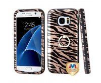 Samsung Galaxy S7 Zebra Skin/Black (2D Rose Gold)/Black Hybrid Protector Cover (with Metal Ring Stand) [New Improved Design]