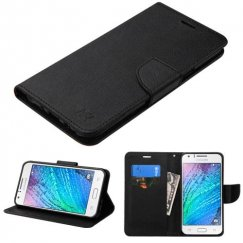 Samsung Galaxy J7 Black Pattern/Black Liner wallet with Card Slot