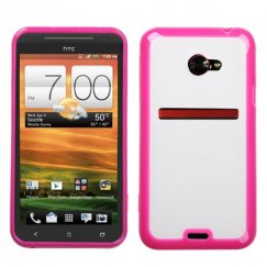 HTC EVO 4G LTE Transparent Clear/Solid Hot Pink Gummy Cover