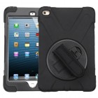 AppleiPad Mini 4th Gen Black/Black Rotatable Stand Protector Cover (with Wristband)