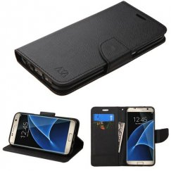 Samsung Galaxy S7 Edge Black Pattern/Black Liner wallet with Card Slot