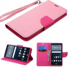 LG G Stylo Pink Pattern/Hot Pink Liner Wallet with Lanyard