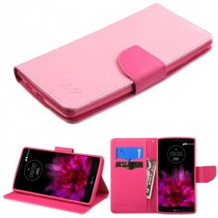 LG G Flex 2 Pink Pattern/Hot Pink Liner Wallet with Card Slot