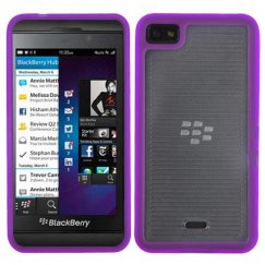 Blackberry Z10 Horizontal Stripes Transparent Clear/Solid Purple Gummy Cover