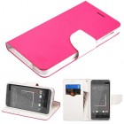 HTC Desire 626 Hot Pink Pattern/White Liner wallet with Card Slot