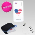 American Mational Flag/Heart Li-ion Power Bank (5600 mAh)