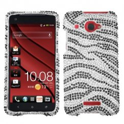 HTC Droid DNA Black Zebra Skin Diamante Case