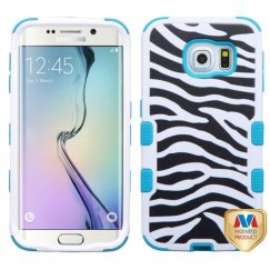 Samsung Galaxy S6 Edge Zebra Skin/Tropical Teal Hybrid Case
