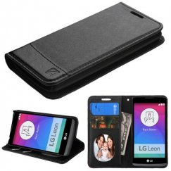 LG Leon H345 Black/Black wallet with Card Slot