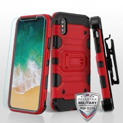 Apple iPhone X Red/Black 3-in-1 Storm Tank Hybrid Case Combo with Black Holster and Tempered Glass Screen Protector
