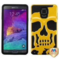 Samsung Galaxy Note 4 Solid Pearl Yellow/Black Skullcap Hybrid Case