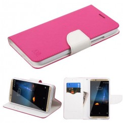 ZTE Axon 7 Hot Pink Pattern/White Liner wallet with Card Slot