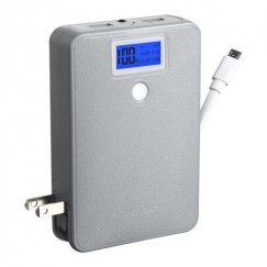 Gray Power Bank with LCD Display (White Button & White Micro USB to USB Cable) (10000 mAh)