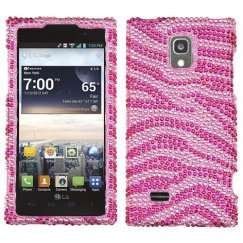 LG Spectrum 2 Zebra Skin Pink/Hot Pink Diamante Case