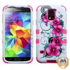 Samsung Galaxy S5 Morning Petunias/Electric Pink Hybrid Case